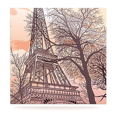 KESS InHouse Eiffel Tower by Sam Posnick Painting Print Plaque; 8'' H x 8'' W