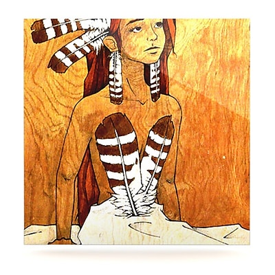 KESS InHouse Owl Feather Dress by Brittany Guarino Painting Print Plaque; 8'' H x 8'' W