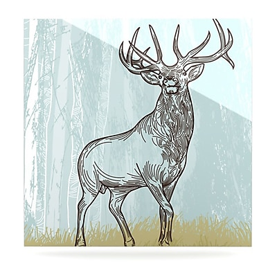 KESS InHouse Elk Scene by Sam Posnick Graphic Art Plaque; 8'' H x 8'' W