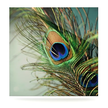 KESS InHouse Peacock Feather by Sylvia Cook Photographic Print Plaque; 8'' H x 8'' W