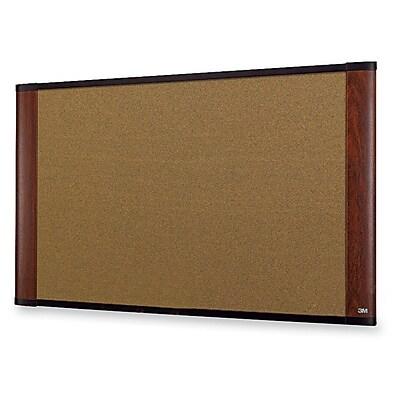 3M - ERGO Mahogany Cork Bulletin Board