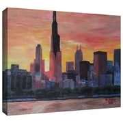 """ArtWall """"Chicago Sunset Red"""" Gallery Wrapped Canvas Art By Martina and Markus Bleichner, 24"""" x 36"""""""