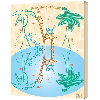 """ArtWall """"Everything is Happy"""" Gallery Wrapped Canvas Art By Felittle People, 18"""" x 24"""""""