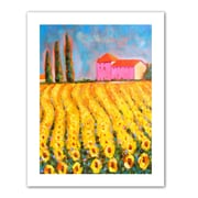 """ArtWall """"Cypress and Sunflowers at Vall De Lot"""" Unwrapped Canvas Arts By Susi Franco"""