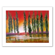 """ArtWall """"Tuscan Cypress Sunset"""" Wrapped Canvas Art By Susi Franco, 24"""" x 32"""""""