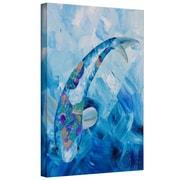 """ArtWall """"Blue Koi"""" Gallery Wrapped Canvas Arts By Shiela Gosselin"""