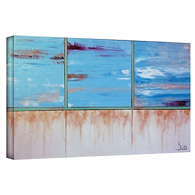 "ArtWall ""Turquoise and Gold"" Gallery Wrapped Canvas Art By Shiela Gosselin, 18"" x 36"""