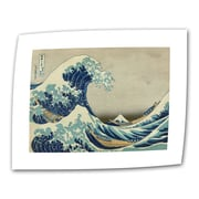"""ArtWall """"The Great Wave Off..."""" Rolled Canvas Art By Katsushika Hokusai, 18"""" x 24"""""""