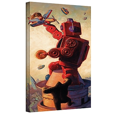 "ArtWall ""Robo Kong"" Gallery Wrapped Canvas Art By Eric Joyner, 18"" x 36"""