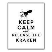"ArtWall ""Keep Calm and Release The Kraken"" Flat Unwrapped Canvas Art By Art D. Signer, 24"" x 32"""