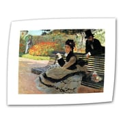 "ArtWall ""Park Bench"" Flat/Rolled Canvas Arts By Claude Monet"