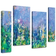 "ArtWall ""Lavender Fields"" 4 Piece Gallery Wrapped Canvas Art By Claude Monet, 36"" x 48"""