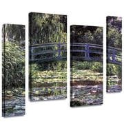 "ArtWall ""Japanese Bridge"" 4 Piece Gallery Wrapped Canvas Arts By Claude Monet"