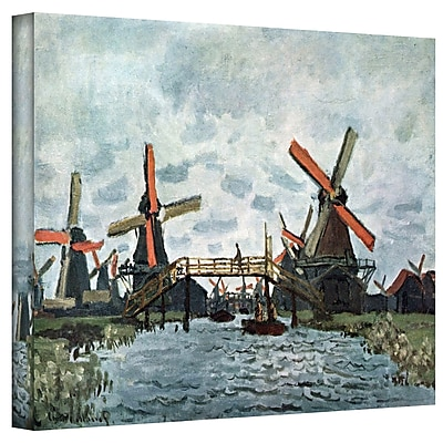 """ArtWall """"Windmills"""" Gallery Wrapped Canvas Art By Claude Monet, 36"""" x 48"""""""