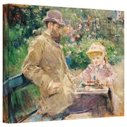 """ArtWall """"Eugene Manet with His Daughter..."""" Wrapped Canvas Arts By Berthe Morisot"""