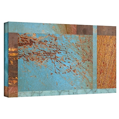 "ArtWall ""Blue Brown Collage"" Gallery Wrapped Canvas Art By Cora Niele, 24"" x 48"""