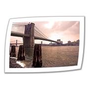 "ArtWall ""Brooklyn Bridge at Sunset"" Unwrapped Canvas Art By Linda Parker, 16"" x 24"""