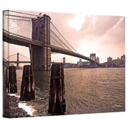 """ArtWall """"Brooklyn Bridge at Sunset"""" Gallery Wrapped Canvas Art By Linda Parker, 24"""" x 36"""""""