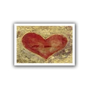 """ArtWall """"Red Heart on Gold"""" Unwrapped Canvas Art By Elena Ray, 24"""" x 36"""""""