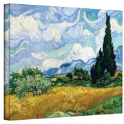 """ArtWall """"Wheatfield with Cypresses"""" Gallery Wrapped Canvas Arts By Vincent Van Gogh"""