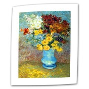 """ArtWall """"Flowers in a Blue Vase"""" Flat/Rolled Canvas Art By Vincent Van Gogh, 36"""" x 48"""""""