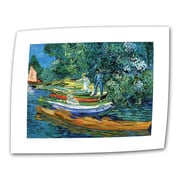 """ArtWall """"Bank of The Oise at Auver"""" Flat/Rolled Canvas Arts By Vincent Van Gogh"""
