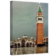 """ArtWall """"Venice Piazza"""" Gallery Wrapped Canvas Art By George Zucconi, 18"""" x 24"""""""