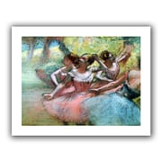 """ArtWall """"Four Ballerinas on The Stage"""" Flat Unwrapped Canvas Arts By Edgar Degas"""