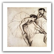 """ArtWall """"Two Dancers Resting"""" Flat Unwrapped Canvas Arts By Edgar Degas"""