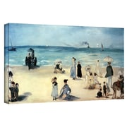 "ArtWall ""Beach Scene"" Gallery Wrapped Canvas Art By Edouard Manet, 12"" x 24"""