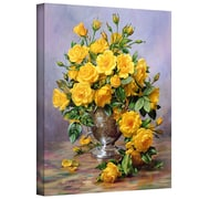 """ArtWall """"Roses in a Silver Vase"""" Gallery Wrapped Canvas Art By Albert Williams, 14"""" x 18"""""""