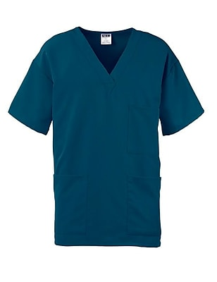 Madison AVE.™ Unisex Scrub Top With 3 Pockets, Caribbean Blue, Medium