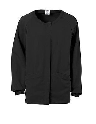 Addison AVE.™ Unisex Hidden Snap Warmup Scrub Jacket, Black, XL