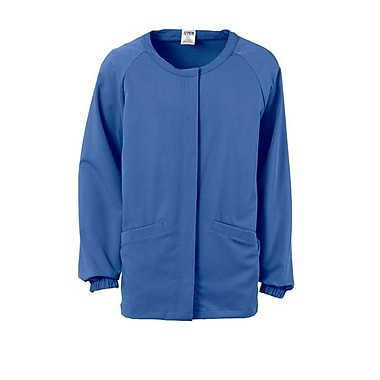 Addison AVE.™ Unisex Hidden Snap Warmup Scrub Jacket, Ceil Blue, XS