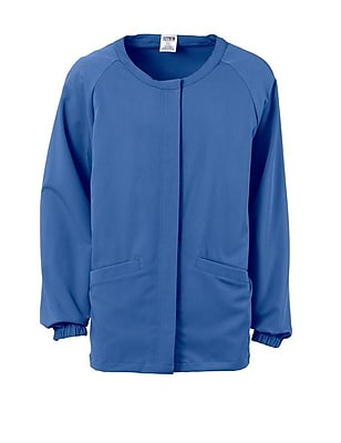 Addison AVE.™ Unisex Hidden Snap Warmup Scrub Jacket, Ceil Blue, Small