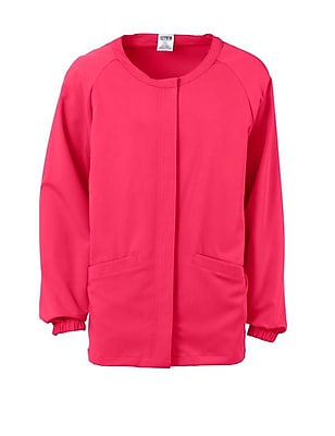 Addison AVE.™ Unisex Hidden Snap Warmup Scrub Jacket, Pink, Small