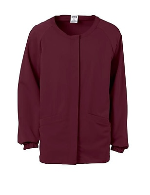 Addison AVE.™ Unisex Hidden Snap Warmup Scrub Jacket, Wine, XL
