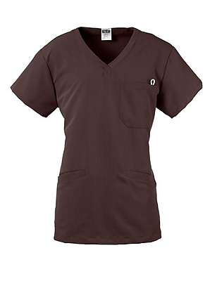 Berkeley AVE.™ Ladies Scrub Top With Welt Pockets, Chocolate, Large