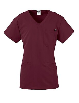 Berkeley AVE.™ Ladies Scrub Top With Welt Pockets, Wine, Large