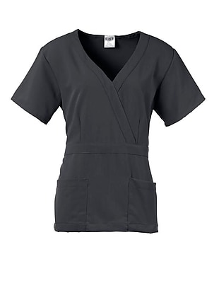 Park AVE.™ Mock Wrap Ladies Scrub Top, Charcoal, Large