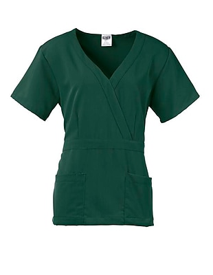 Park AVE.™ Mock Wrap Ladies Scrub Top, Hunter Green, Large