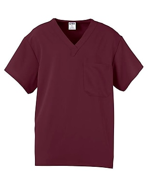 Fifth AVE.™ Unisex Scrub Top, Wine, Large