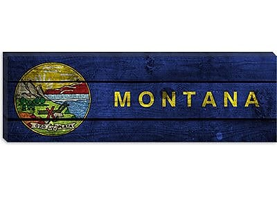 iCanvas Flags Montana Planks Panoramic Graphic Art on Canvas; 16'' H x 48'' W x 1.5'' D