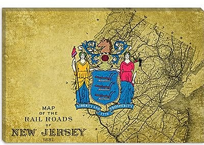 iCanvas Flags New Jersey Graphic Art on Canvas; 26'' H x 40'' W x 1.5'' D
