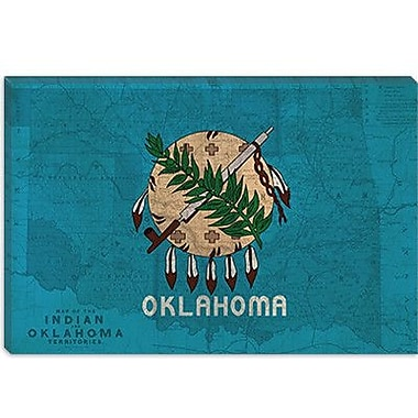 iCanvas Flags Oklahoma Map Graphic Art on Canvas; 8'' H x 12'' W x 0.75'' D