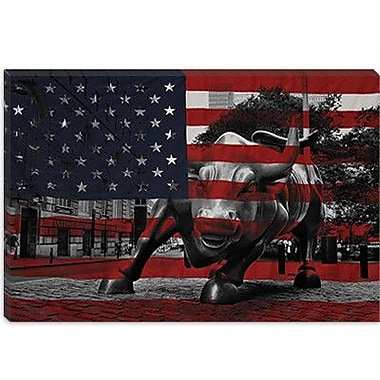 iCanvas Flags New York Street Charging Bull Graphic Art on Canvas; 26'' H x 40'' W x 1.5'' D
