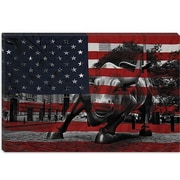 iCanvas Flags New York Street Charging Bull Graphic Art on Canvas; 12'' H x 18'' W x 1.5'' D