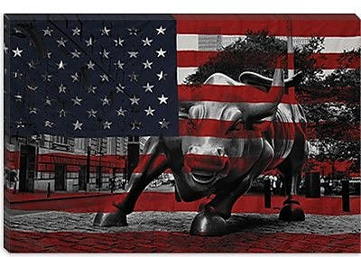 iCanvas Flags New York Street Charging Bull Graphic Art on Canvas; 18'' H x 26'' W x 1.5'' D