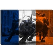 iCanvas Flags New York Grunge Wallstreet Bull Graphic Art on Canvas; 12'' H x 18'' W x 1.5'' D