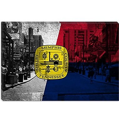iCanvas Memphis, Tennessee Flag Beale Street Grunge Graphic Art on Canvas; 18'' H x 26'' W x 1.5'' D